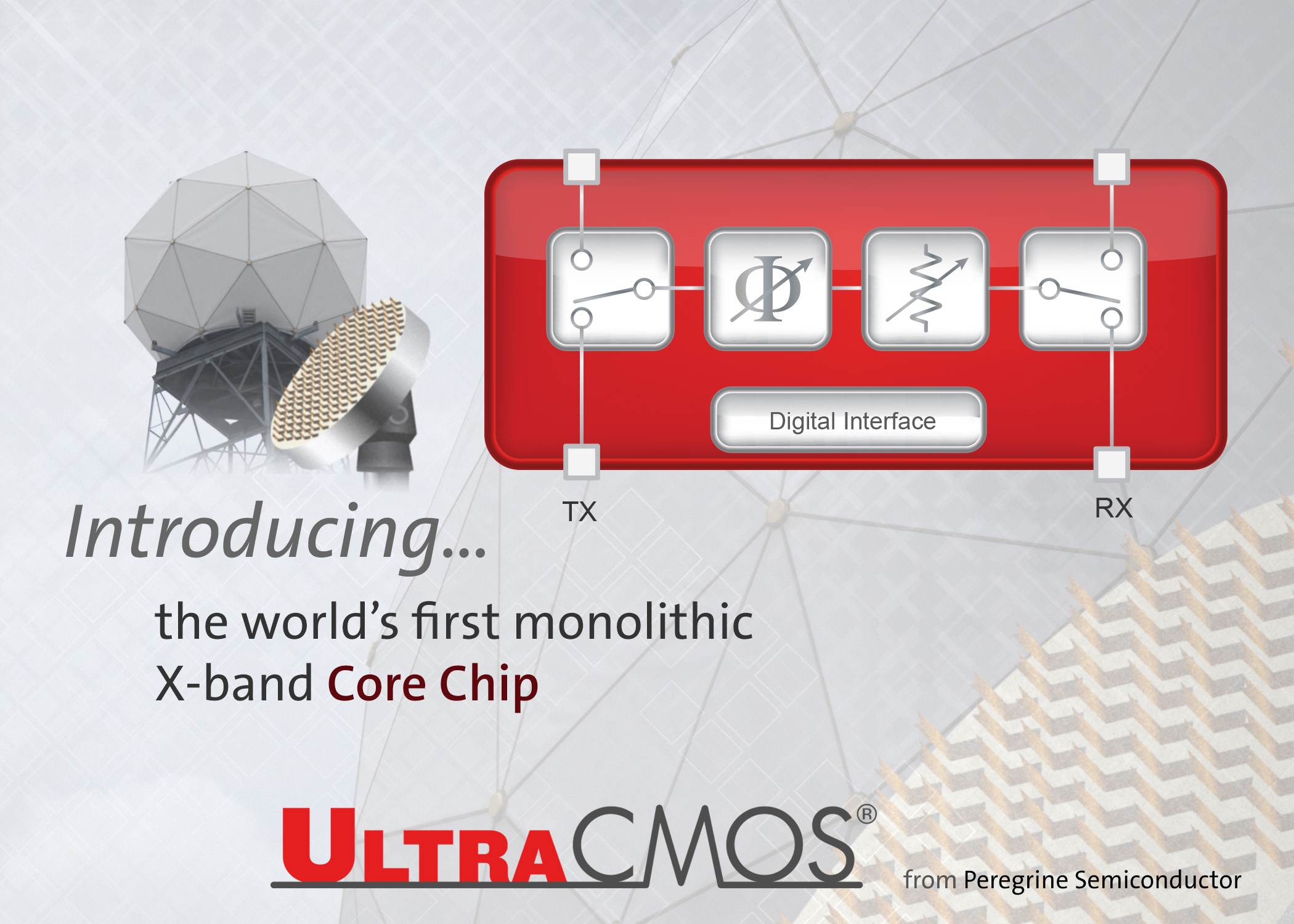 Peregrine Semiconductor Expands Integrated Product Portfolio Into Monolithic Circuit Quality Introduces The Industrys First X Band Cmos Core Chip To Utilize