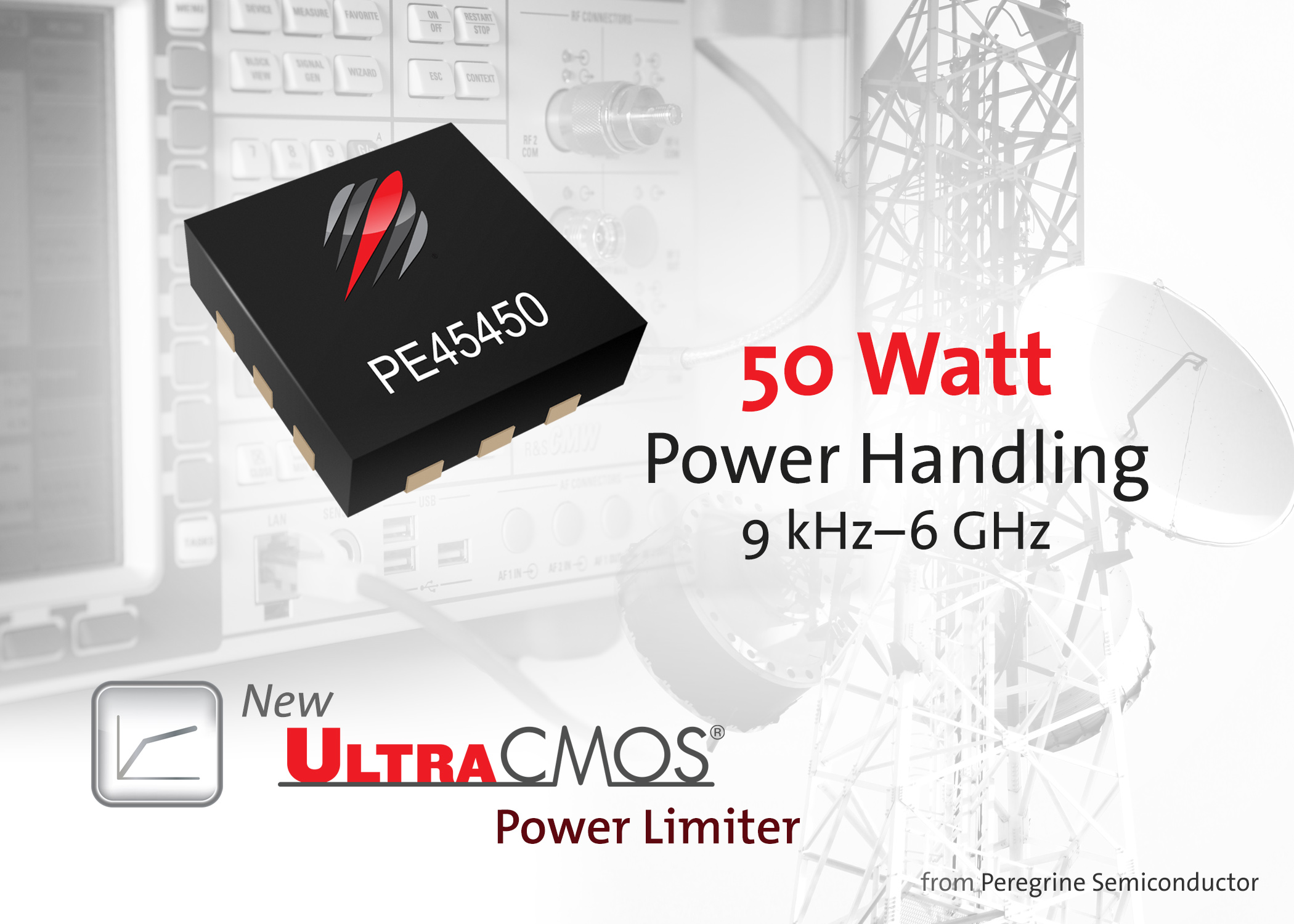 Peregrine Semiconductor ships 50 W UltraCMOS® PE45450 power limiter designed for test-andmeasurement and wireless-infrastructure equipment.