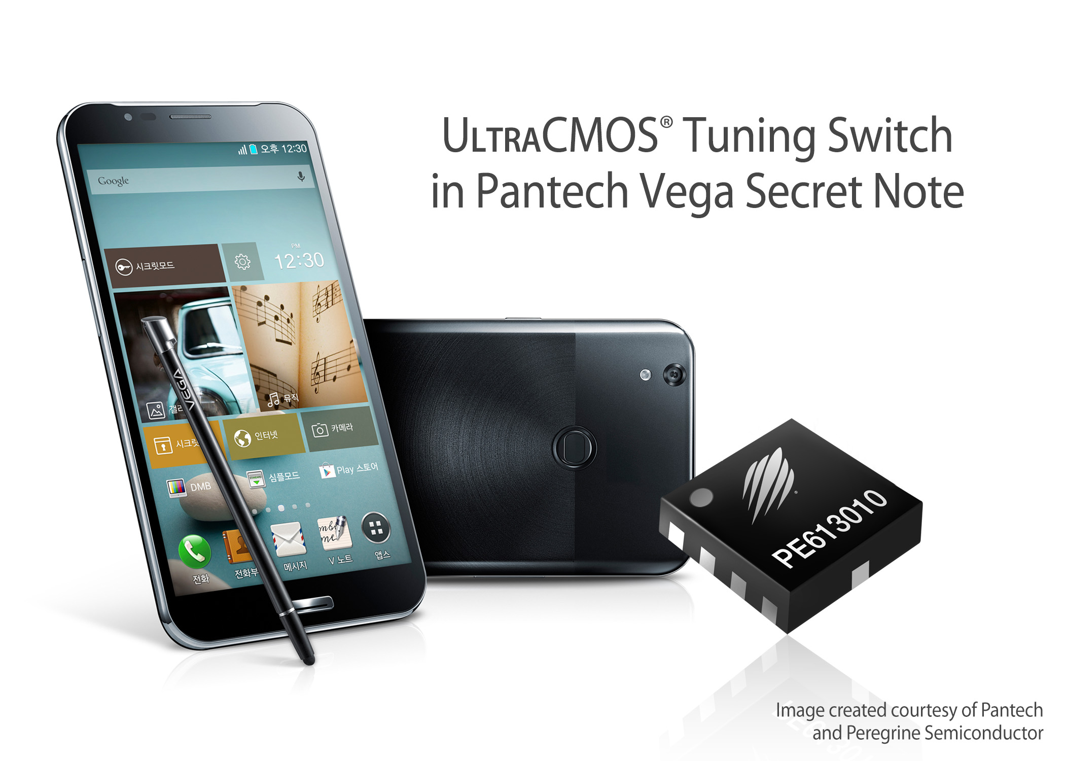 Peregrine Semiconductor's UltraCMOS® switch enhances signal connection for new Pantech Vega Secret Note LTE-A phablet.