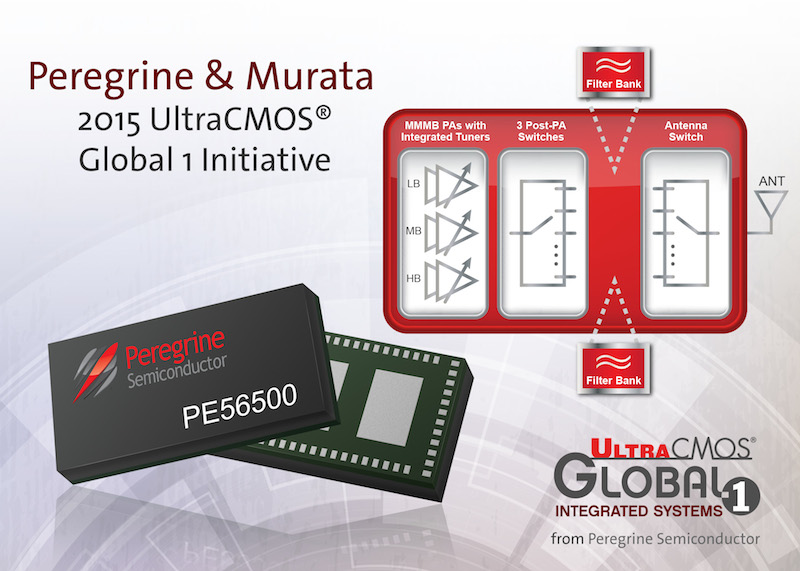 Peregrine Semiconductor teams with Murata to announce the 2015 UltraCMOS® Global 1 Initiative. This new initiative seamlessly integrates the PE56500 all-CMOS RF front-end solution and Murata filters.