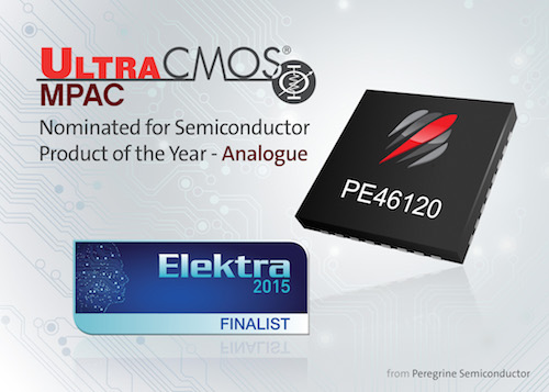 Peregrine Semiconductor's UltraCMOS® monolithic phase and amplitude controller (MPAC) is nominated for Semiconductor Product of the Year – Analogue in the 2015 Elektra Awards.