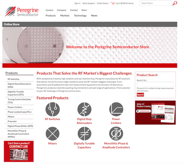 Peregrine Semiconductor announces the launch of an online store. Customers can now visit Peregrine's website to purchase Peregrine's high-performance RF products.