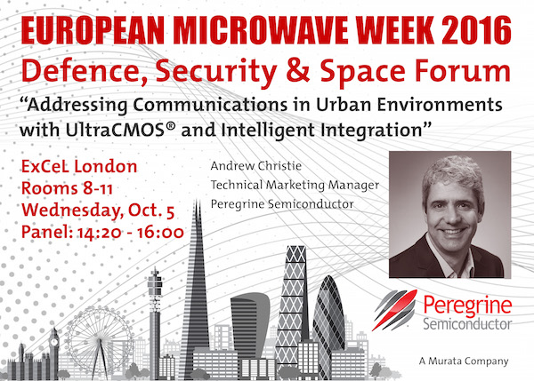 Peregrine Semiconductor's technical marketing manager Andrew Christie will discuss reliable urban communications at European Microwave Week 2016.