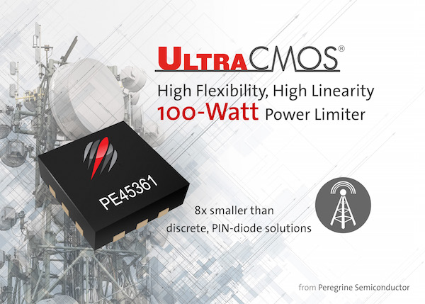 Peregrine Semiconductor introduces the UltraCMOS® PE45361, a 100-watt RF SOI power limiter.