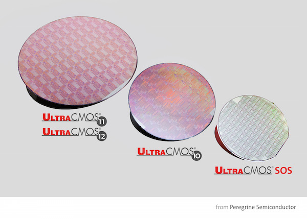 Pictured are wafers from Peregrine's UltraCMOS® 11 and 12 technology platform (left), UltraCMOS 10 platform (middle) and UltraCMOS silicon on sapphire (right).