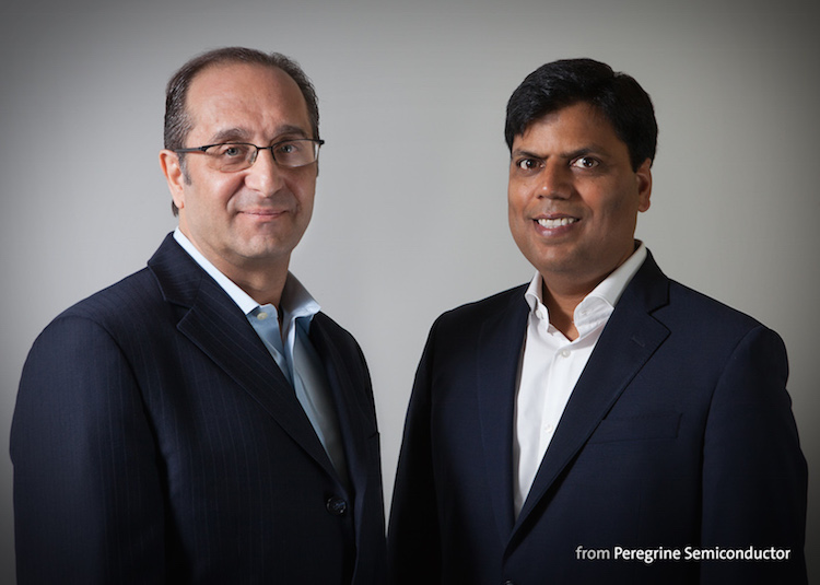 Peregrine Semiconductor announces two new executives. Keith Bargroff (left) was named Peregrine's vice president of engineering, and Sumit Tomar (right) was named vice president of product marketing.