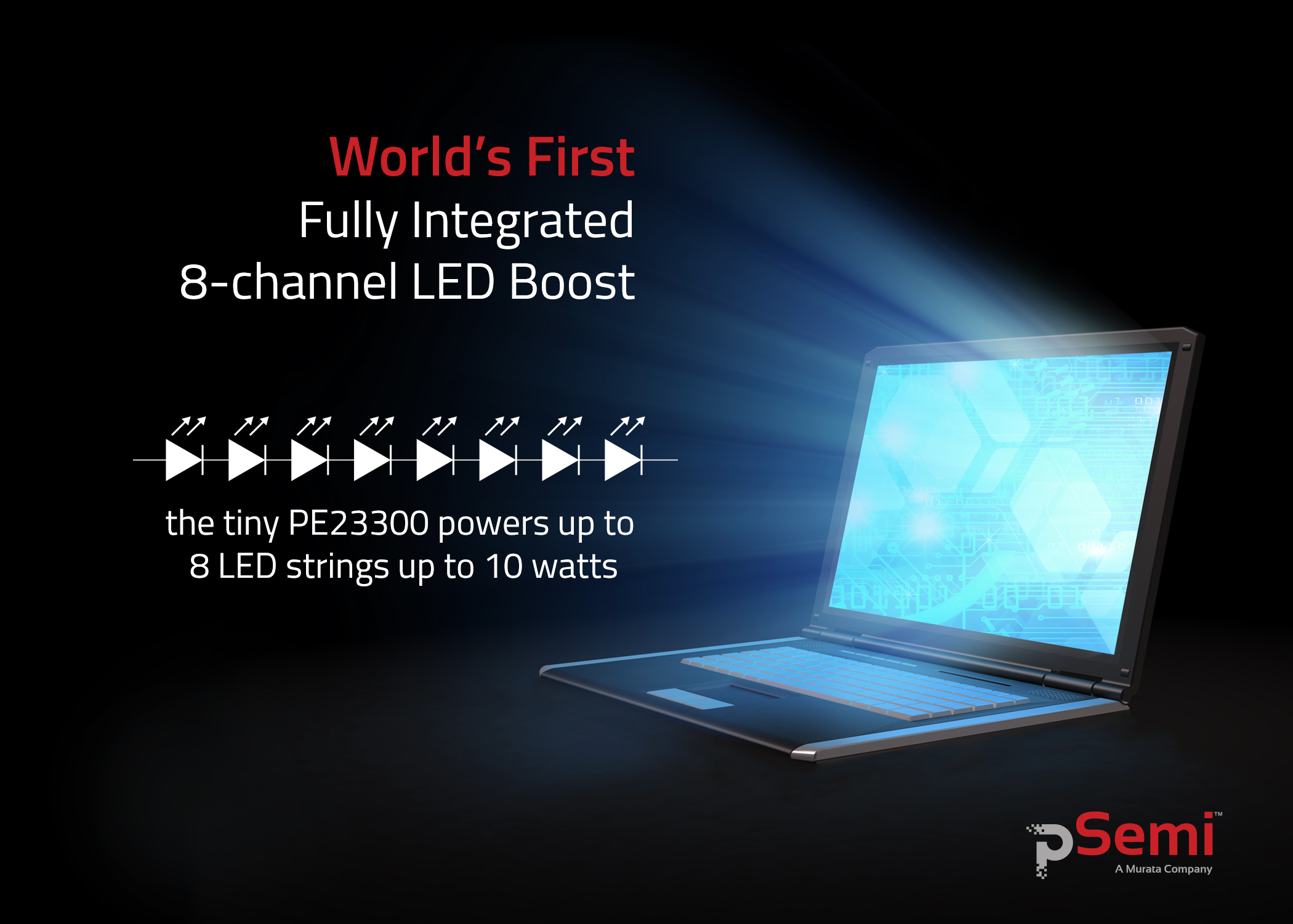 PE23300 Fully Integrated 8-channel LED Boost